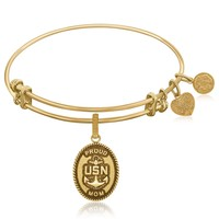 Expandable Bangle in Yellow Tone Brass with U.S. Navy Proud Mom Symbol