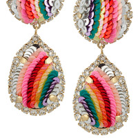 Shourouk - Rainbow gold-plated, Swarovski crystal and sequin clip earrings