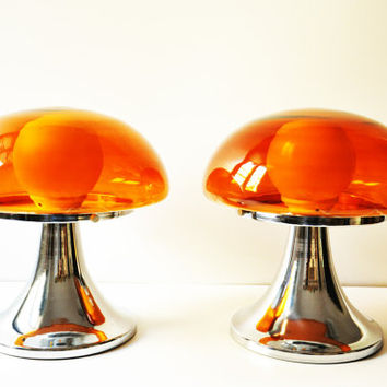 Set of Two Vintage Orange Mushroom Lamps - Glass Bedside Lamps