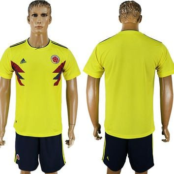 2018 World Cup Columbia Team Football Clothes Football Shirt Football Jersey Soccer Jersey Soccer Uniform (2 Piece)