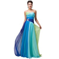 Colorful Blue Green Red Chiffon Long Evening Dresses Rainbow Prom Gown Formal Party Dress