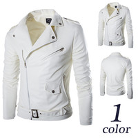 White Faux Leather Men Biker Jacket
