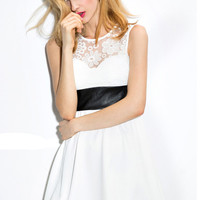 White Lace Panel Sleeveless Dress