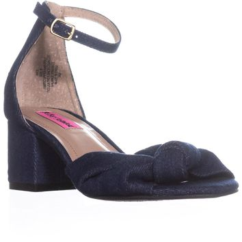 Betsey Johnson Ivee Ankle Strap Sandals, Denim, 9 US