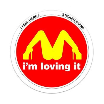 "I'M Loving It McDonald's Funny car bumper sticker window decal 4"" x 4"""