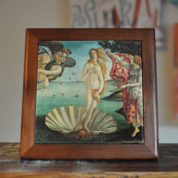 Botticelli Venus Ceramic Tile Coaster Set Artwork Trivet Hot Plate Pot Stand Plant Splashback Kitchen Decor Tile Interior Tile Coasters