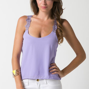Lace Cross Georgette Top - Lavender