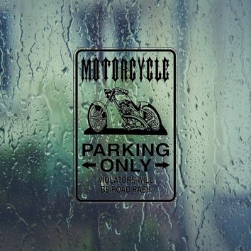 Motorcycle Parking Only Sign Vinyl Outdoor Decal (Permanent Sticker)