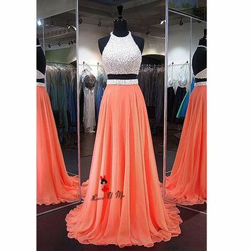 Fitted Coral White Two Piece Prom Dresses Long Elegant 2018 Backless Special Occasion Gown Formal Evening Party Vestido de Baile