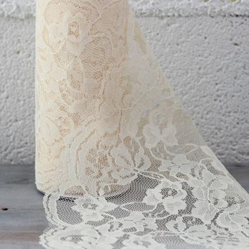 "Ivory Lace Ribbon Fabric - 6"" Wide x 10 yd"