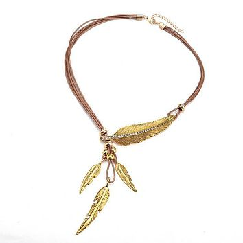 Fashion fan personality exaggeration leather rope leaves Tassel Necklace accessories