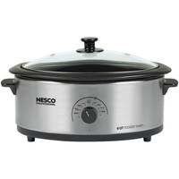 Nesco 6-quart Stainless Steel Roaster Oven With Porcelain Cookwell