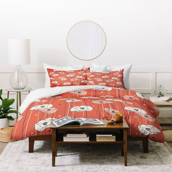 Heather Dutton Red Poppy Field 1 Duvet Cover