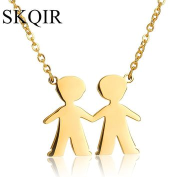 SKQIR Gold Two Figure Boys Best Friends Pendant Necklaces Women Chain Stainless Steel Necklace For Lovers Jewelry Gift