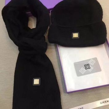 PEAPON Givenchy Beanies Winter Knit Hat Cap Cape Scarf Scarves Set Two-Piece