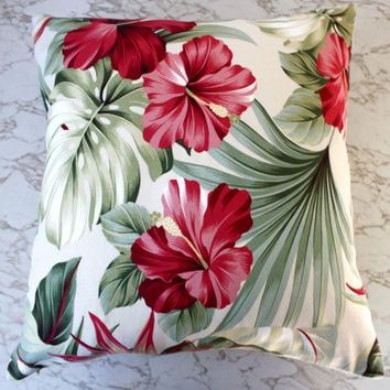 hibiscus oasis barkcloth cushion covers