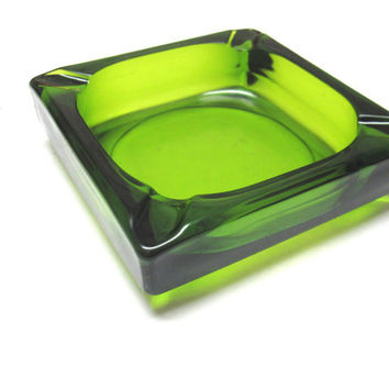 Sleek Green Glass Ashtray Square Modern Vintage Ash Tray Cigar Smoking Collectible
