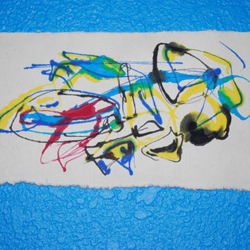 Small Monotype print, Abstract print, Fine art, colorful printmaking, Japanese Rice paper, OOAK