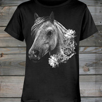 Country Girls™ Horse & Roses Scoop Neck Tee