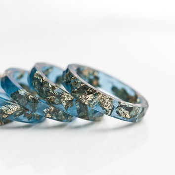 Sapphire Blue Resin Stacking Ring Gold Flakes Thin Faceted Ring OOAK boho minimalist jewelry deep midnight blue rusteam