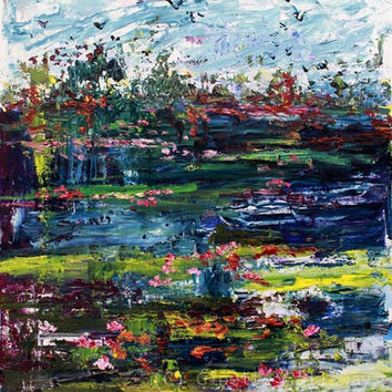 Landscape Wetland Impressions Palette Knife Oil Painting 18 by 24 inch by Ginette