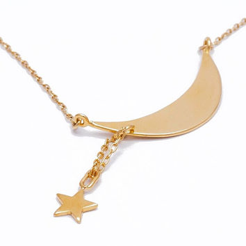 Moon and star necklace - gold moon and star necklace, moon necklace, crescent moon necklace, moon pendant, moon and star jewelry