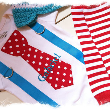 BOYS FIRST BIRTHDAY Outfit-M2M Winter Onederland Birthday-Cake Smash-Tie with Suspenders Bodysuit 2 Pc Set-Red White Polka Dot Tie