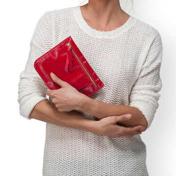 Red leather zipper pouch, leather wallet, women pouch by Leah Lerner