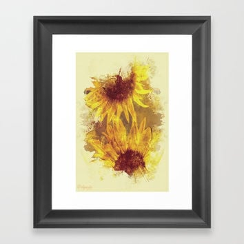 Peeping Sunflowers Framed Art Print by Theresa Campbell D'August Art
