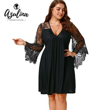 4XL 5XL Autumn Sexy Lace Flare Sleeve Empire Waist Tunic Dress