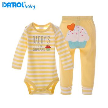 Danrol 2Pcs/Set 0~24M Baby Girls Boys Clothes Cotton Monkey Baby Clothes Bodysuits+Green Pants Long Sleeve Bodysuits Clothes V20
