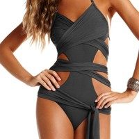 Vitamin A 2013 Slate Grey Runway Wrap Maillot Swimsuit 12MSLT | South Beach Swimsuits