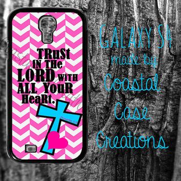Pink Chevron and Turquoise Cross Bible Verse Samsung Galaxy S4 2 Piece Durable Cell Phone Case Cover Original Design