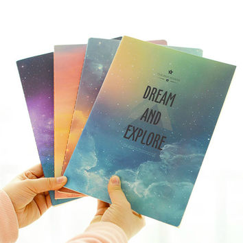 A6 Cute Star Sky Notebook Diary Book Lined Exercise Book Notepad Journal for kids School Supplies Stationery Free shipping 333