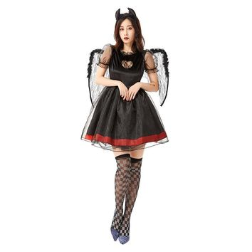 Women Halloween Black Fallen Angels Costumes Female Demon Cosplay Carnival Masquerade Nightclub Bar Role Play Party Dress
