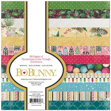"BoBunny Single-Sided Paper Pad 6""X6"" 36/Pkg-Christmas In The Village, 12 Designs"
