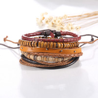 5pcs set Brown Color Multilayer Braid Leather Bracelets for Men Charms & Beads Wrap Friendship Jewelry Boho Jewlery