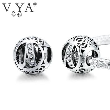 V.YA 925 Silver Alphabet Beads for Pandora Charm Bracelets 26 Kinds Crystal Letter Beads for Jewekry Making Diy Accessories