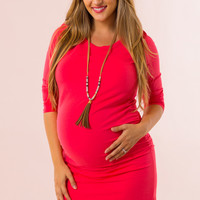 My Wish Maternity Dress in Coral