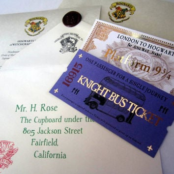 Wizarding School Acceptance Letter, Train Ticket, & Bus Ticket Package