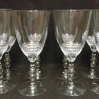 Duncan & Miller Teardrop Crystal Water Goblets, Wine Glasses, Stacked Ball Stem, Set of 8  (1334)