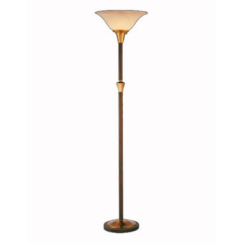 Remington Lamp 1905 Antique Brass and Copper Finish Torchiere Floor Lamp w/ Amber Swirl Glass Shade