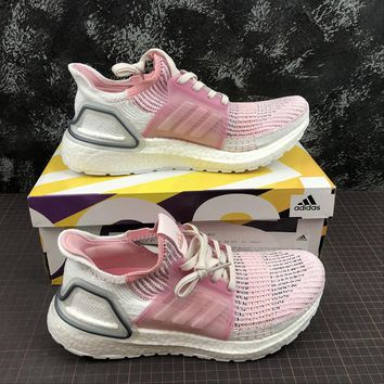Adidas Ultra Boost 2019 UB 5.0 White Pink Sport Running Shoes - Best Online Sale