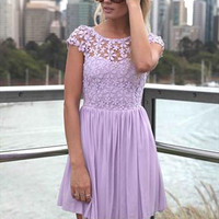 Purple Round Neck Crochet Skater Dress