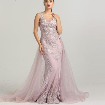 Newest Sleeveless Mermaid Tulle Formal Evening Dresses  Flowers  Pearls Fashion With Train Evening Gowns 2018 Serene Hill LA6442