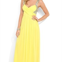 Long Prom Dress with Criss Cross Bodice and Stone Tank Straps