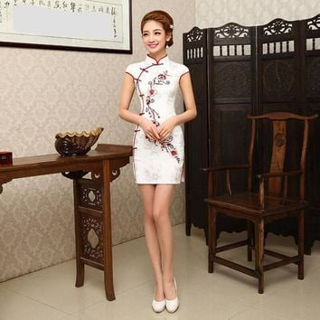 White Floral Damask Short Cheongsam One-piece Chinese Qipao Dress