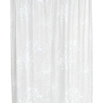 BenandJonah Collection Fabric Shower Curtain 70 x 72 inch  Flowery Design White/Spa
