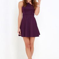 Steal the Spotlight Purple Skater Dress