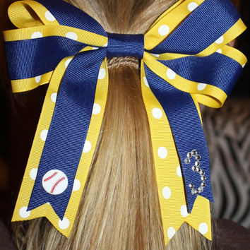 Little League Softball Hair Bow with number